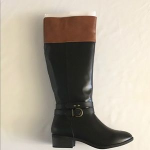 New Rampage Ivenn Black & Cognac Heeled Wide Boots